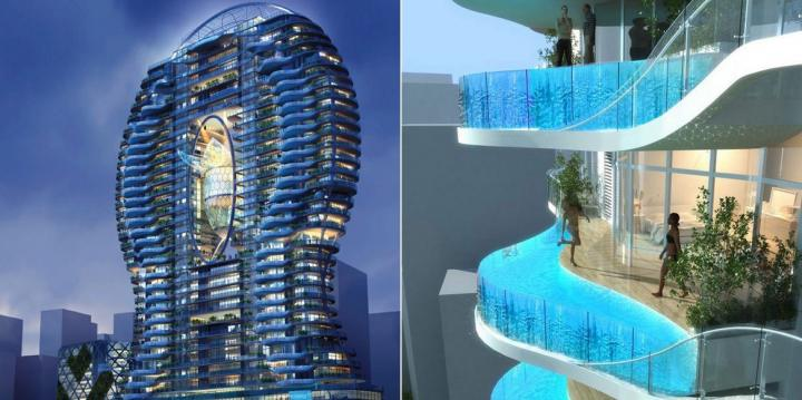 Aquaria Grande Tower, piscinas nas varandas?