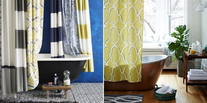 ultimas tendencias de decoracao de interiores:Cortinas de casa de banho de estilo retro moderno