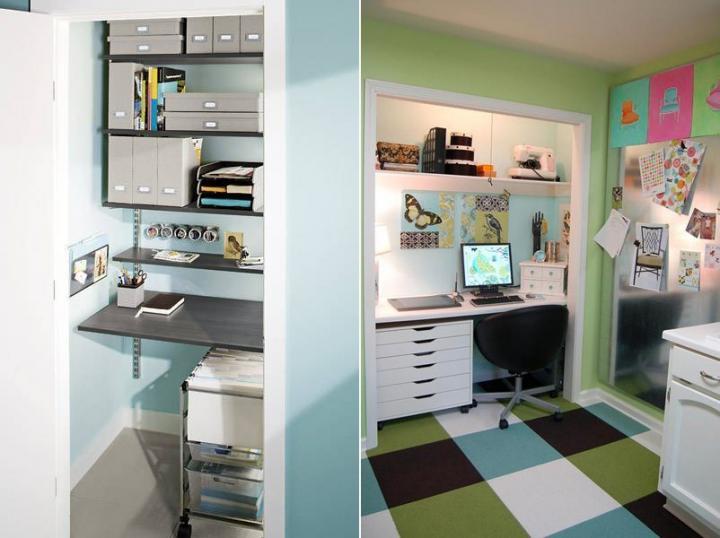 Escritório escondido no armário
