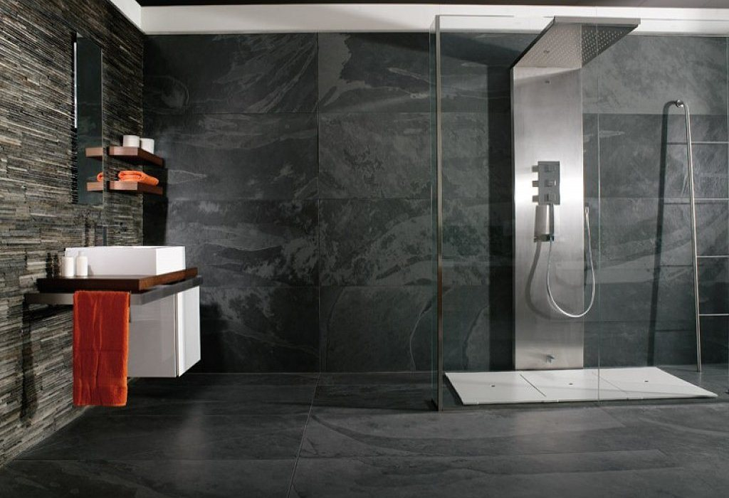 Baños Blanco Quintas:Natural Slate Wall Tile Bathroom Ideas