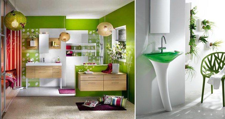 Inspiraç u00e3o nas casas de banho decoraç u00e3o com verde Decoraç u00e3o da casa  # Decoração De Casas De Banho Em Azul