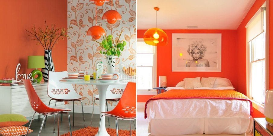 ultimas tendencias de decoracao de interiores:pintura lacada com móveis vintage e objetos de plástico ou de