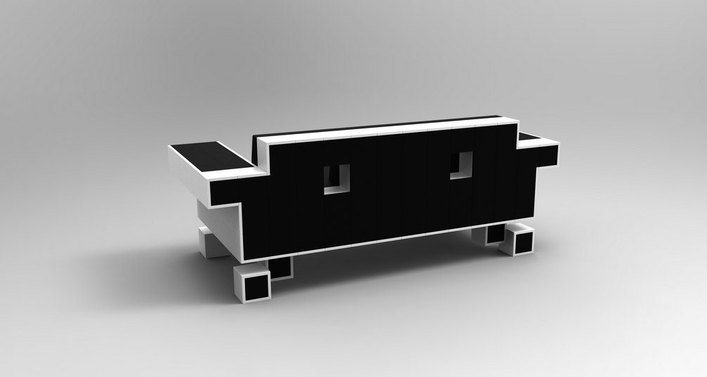 sof retro alien couch inspirado no space invaders. Black Bedroom Furniture Sets. Home Design Ideas